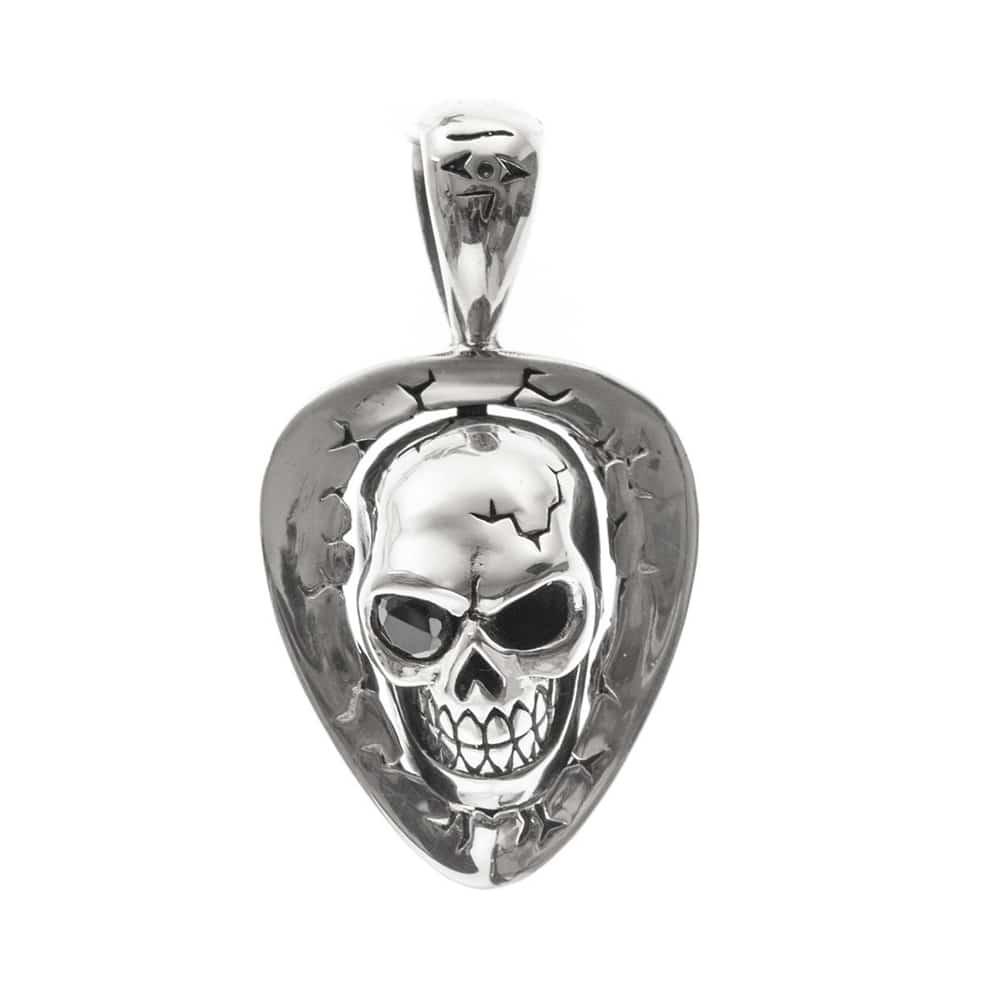 Tête de mort et médiator pendentif pierre noire argent 3